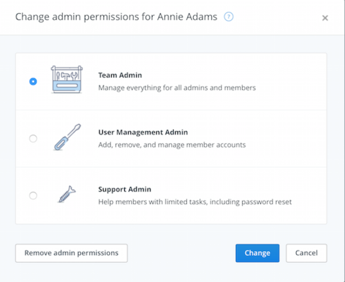 The new tiered admin roles in Dropbox for Business.
