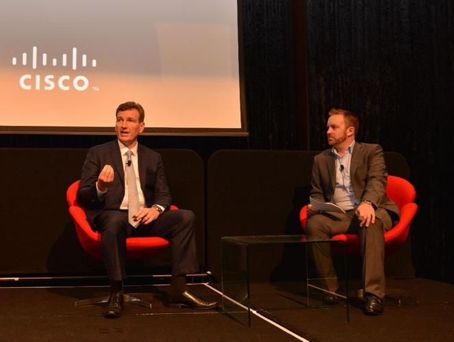 Cisco's director of the partner business group, Jason Brouwers with ARN's Allan Swann