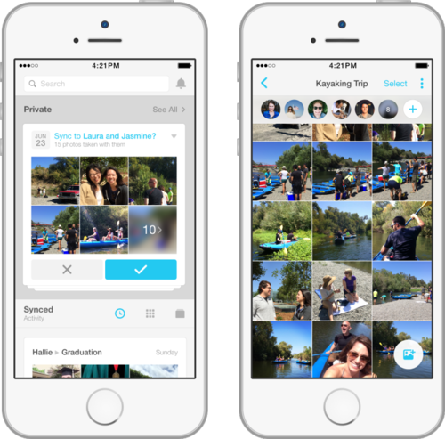Facebook's Moments app lets users share photos from their smartphone camera roll with a select group of friends.
