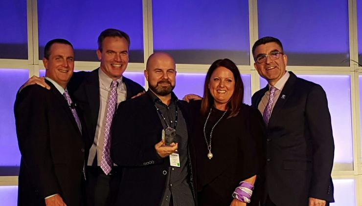 Bob Gault (Extreme Networks), Ed Meyercord (Extreme Networks), Andrew Assad (Arrow ECS ANZ), Paige Powers (Extreme Networks) and John Boladian (Extreme Networks)