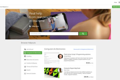 Google's Helpouts live video service let people connect with experts to receive information.