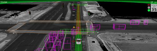 This illustration shows how Google's self-driving car is programmed to slow down to avoid a car to its left making a right turn.