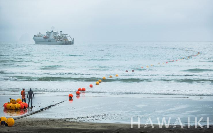 The Hawaiki Cable was landed at Mangawhai Heads, north of Auckland, in February