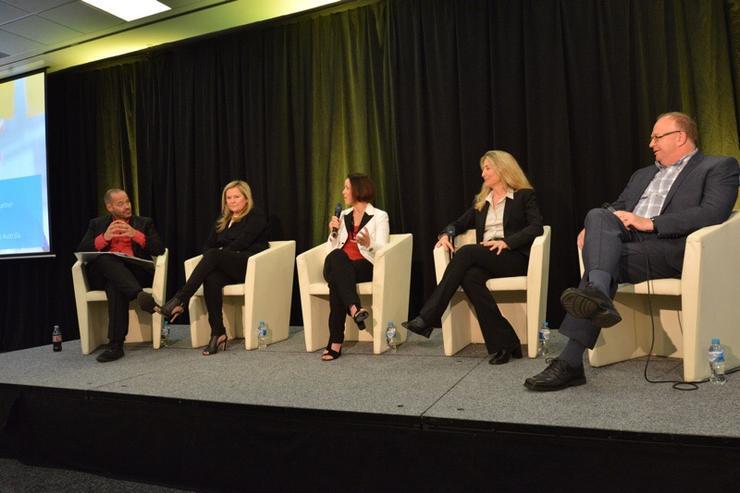 The Microsoft APC 2015 Women In ICT Panel (From left): MC Adam Spencer, Pip Marlow (Microsoft), Nicki Page (MOQDigital), Tiffani Bova (Gartner Research), Bill Trestrail (Springboard)