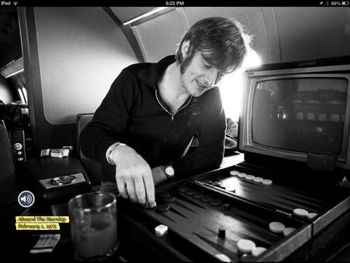This photo, of John Paul Jones playing backgammon on Led Zeppelin's private jet, is an example of how Neal Preston combines public and private moments to give readers of Led Zeppelin: Sound and Fury a real sense of what it was like to be part of the band's inner circle in the 1970s.