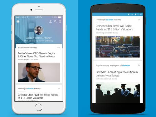 The app uses contextual awareness to pull relevant articles that are trending in your industry or are popular among your colleagues.