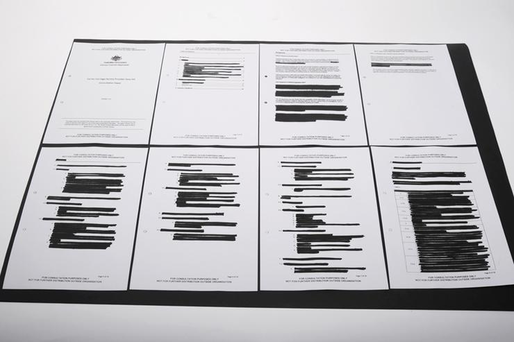 The censored documents from the Attorney-General, Robert McClelland's, department.