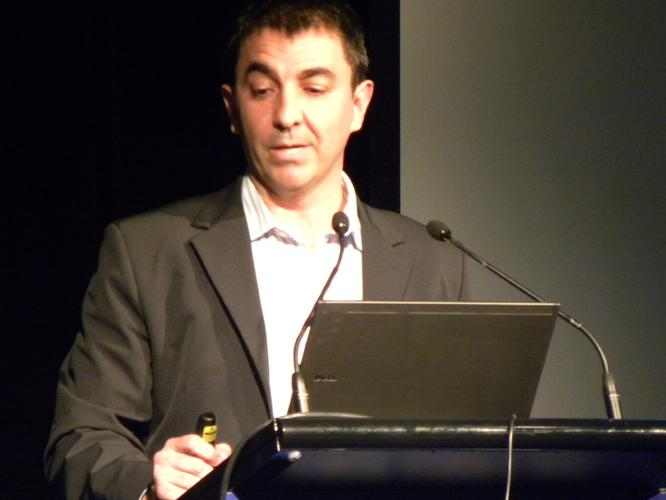 Samsung's Javier Santamarta addresses Sybase Summit 2011. Photos: Patrick Budmar