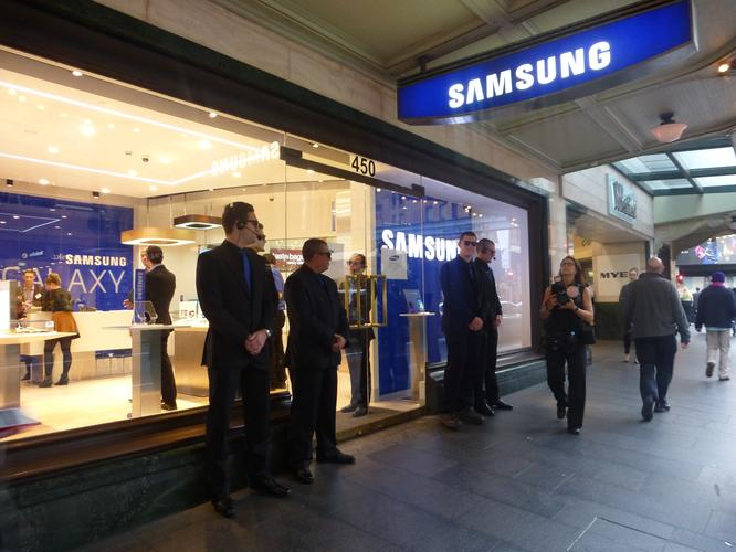 The Samsung Experience store is located at 450 George St, Sydney, only a few hundred metres away from rival Apple's first Sydney store.