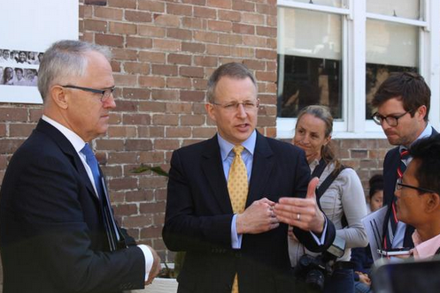 Communications Minister, Malcolm Turnbull with Parliamentary Secretary to the Minister for Communicatoins, Paul Fletcher.