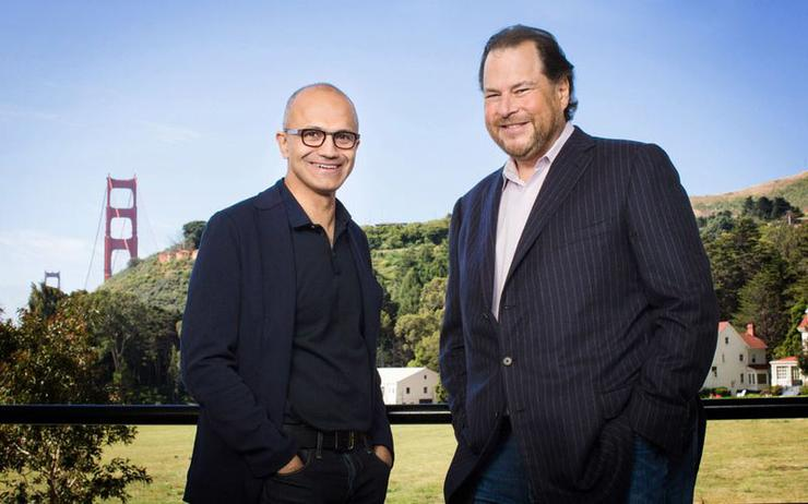 Satya Nadella (CEO of Microsoft) and Marc Benioff (co-CEO of Salesforce)