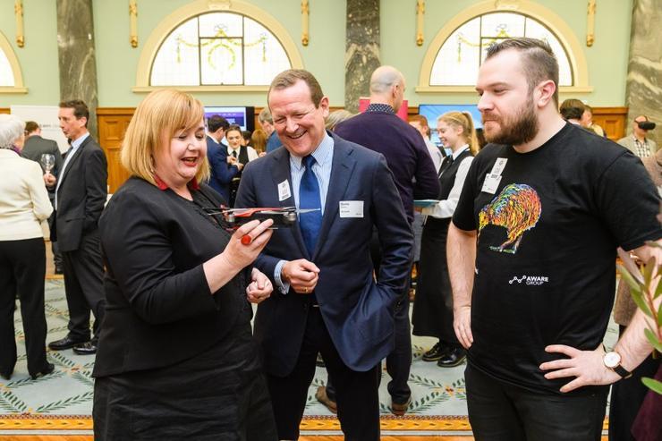 Minister Megan Woods, Barrie Sheers (Microsoft) and Jourdan Templeton (Aware Group)