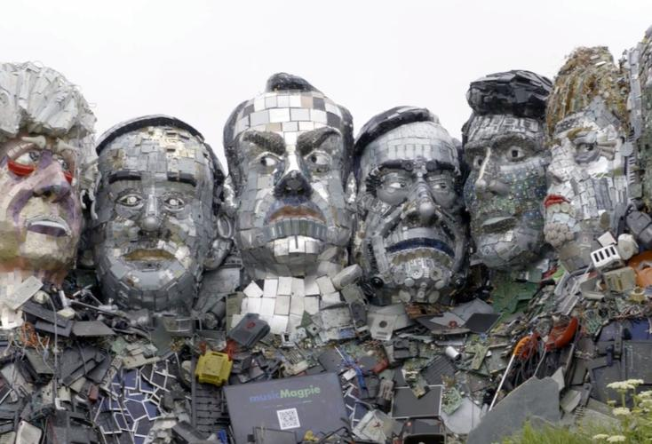 Mount Recyclemore, a protest sculpture made from 12 tonnes of e-waste and unveiled at the G7 conference this month.