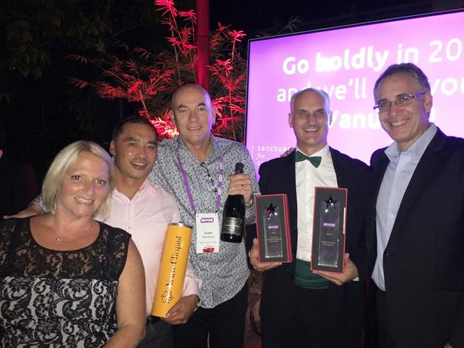 (L-R): Allison Fairkettle, MYOB New Zealand Sales Manager; Peter Chung, Enprise Solutions NZ Sales Manager; Grant Harwood, Enprise Solutions General Manager Auckland; Elliot Cooper, Enprise Group CEO; and Gary Katzaff, MYOB Partner Sales and Service Manager.