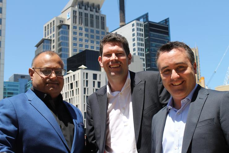 (L-R) MyRepublic CEO, Malcolm Rodrigues, New Zealand managing director, Vaughan Baker, and Australia managing director, Nicholas Demos.
