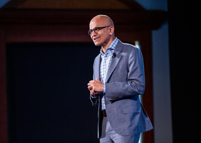 Satya Nadella speaking in Auckland.