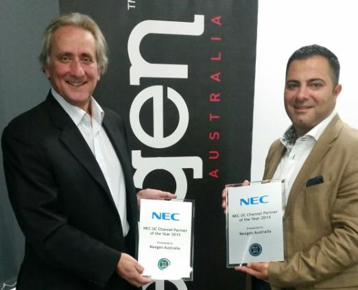 NEC Australia channels manager, Sandy DeLuca and Nexgen Australia director, Elie Ayoub
