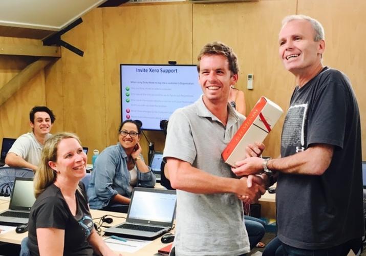 Nigel Piper (right) celebrates Xero passing the million customer mark