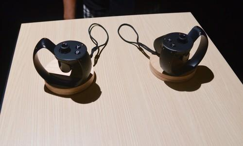 The prototype of Oculus VR's Half Moon controllers for tracking hand movement.