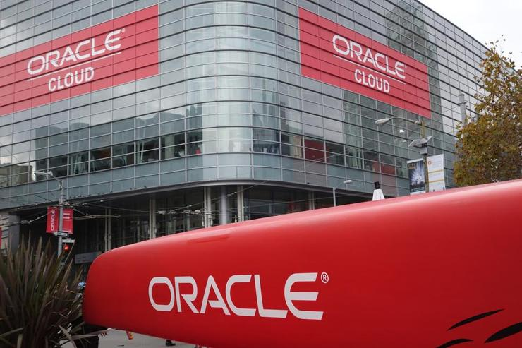 Signs at Oracle OpenWorld in San Francisco, seen on Oct. 27, 2015, highlighted the Oracle Cloud set of offerings.