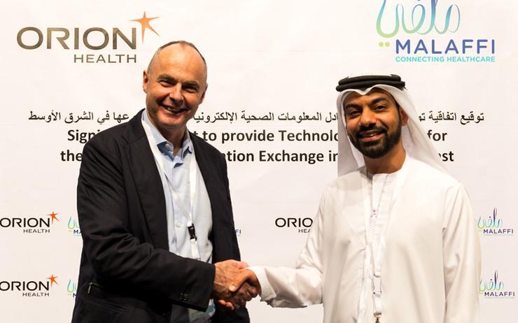 Ian McCrae (Orion Health) and Atif Al Braiki (Abu Dhabi Health Data Services)