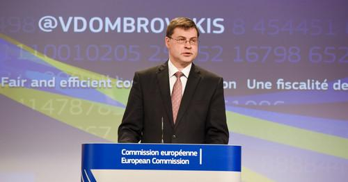 European Commission Vice-President responsible for the Euro, Valdis Dombrovskis, announcing Commission tax plans during a press conference in Brussels on May 27, 2015.