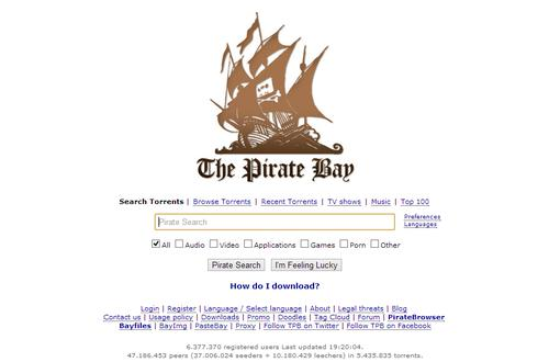 The Pirate Bay homepage.