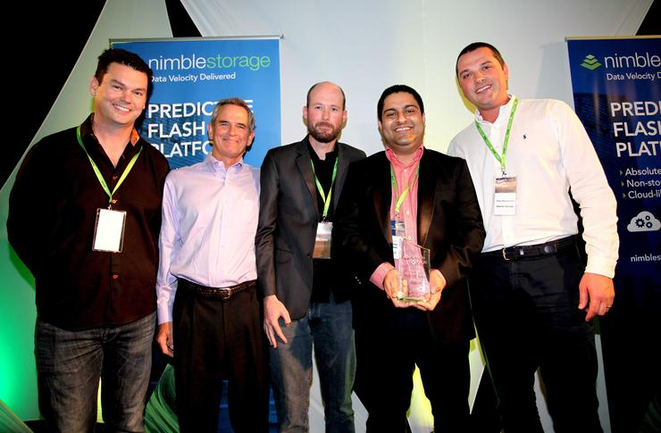 Bede Hackney, ANZ Managing Director, Nimble Storage; Leonard Iventosch, Vice President Worldwide Channels, Nimble Storage; Darren Taylor, Consultant, Origin IT; Sunny Lakhiyan, Network and Systems Manager, Origin IT and Theo Hourmouzis, Director of Channel Sales Asia Pacific, Nimble Storage