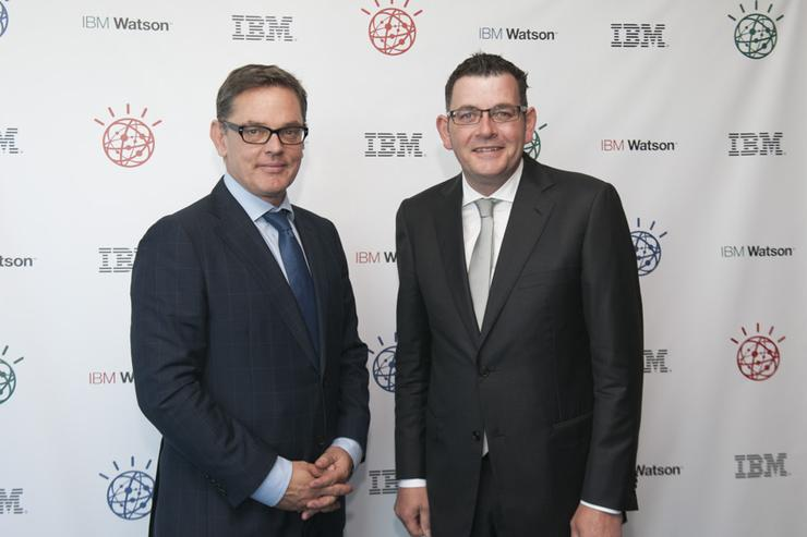 Premier of Victoria and IBM A/NZ managing director, Kerry Purcell, at the Watson Client Centre launch