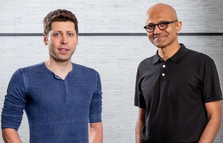 OpenAI CEO Sam Altman and Microsoft CEO Satya Nadella at the Microsoft campus
