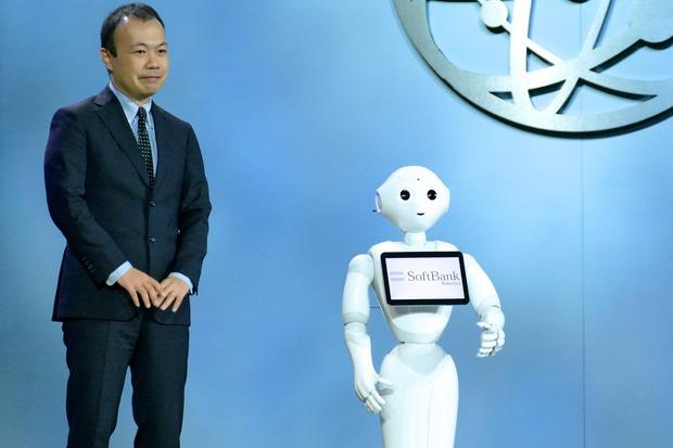 Pepper the robot appears on stage with a Softbank executive at CES in Las Vegas on Jan. 7, 2016 Credit: James Niccolai