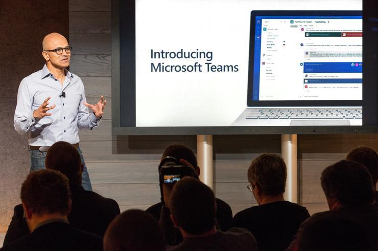 Microsoft CEO, Satya Nadella, announcing the public preview of Microsoft Teams in 2017