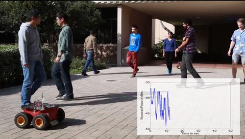 Researchers at the University of California, Santa Barbara have done experiments showing that Wi-Fi signals traveling between wheeled robots (front left) can be used to estimate the number of people in an area. The graph on the lower right shows the received Wi-Fi signal.