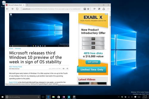Microsoft Edge running on Windows 10 build 10162