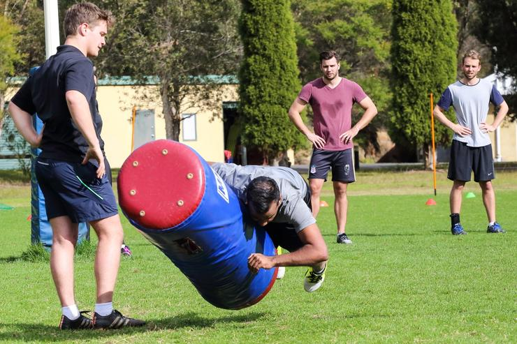 Manly head of strength and conditioning, Don Singe, saved the toughest for last - short sprints combined with hitting the tackle bags hard, five times!
