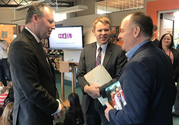 Seatoun School principal John Western with education minister Chris Hipkins and N4L CEO Larrie Moore.