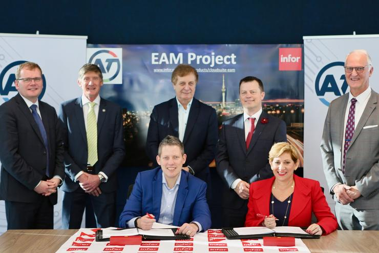 Shane Ellison, chief executive of Auckland Transport, and Helen Masters, senior vice president, Asia Pacific, Infor, sign a new enterprise asset management software deal this month.