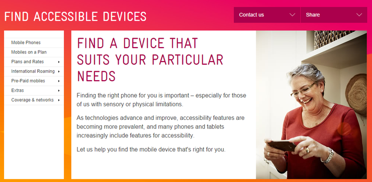 A snippet from Telstra.com's web portal.