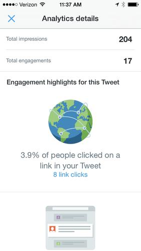 Twitter's iOS app now gives users data about activity around their tweets.