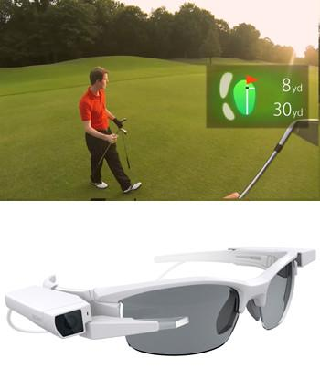 Sony's Single-Lens Display Module (bottom) is a high-resolution OLED screen that can be used for applications such as showing distance maps during golf games.