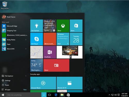 The Windows 10 Start screen.