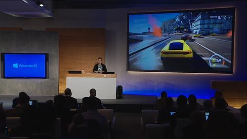 Phil Spencer showed off DirectX 12 on Windows 10 and announced a new game DVR feature that will be built into the new OS as well.