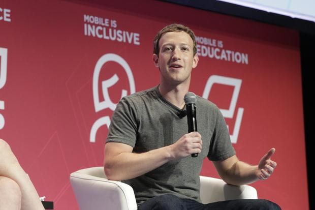 Mark Zuckerberg, CEO of Facebook, speaks at Mobile World Congress in Barcelona on Feb. 22, 2016. Credit: GSMA