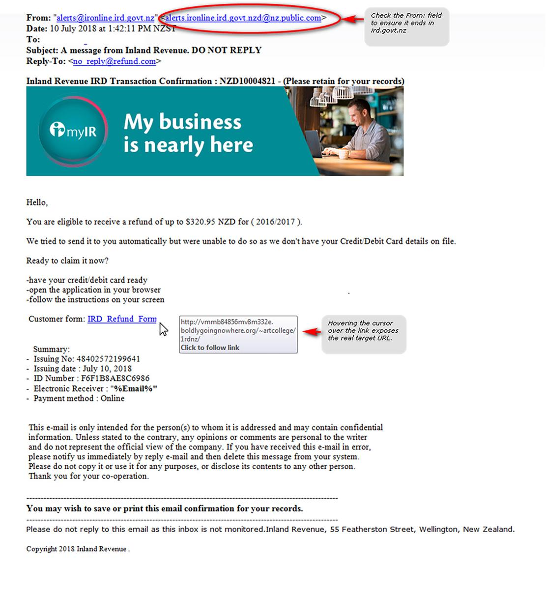 """Sophisticated"""" email scam hits Kiwi inboxes impersonating IRD"""