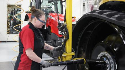 Heather Erickson, an engine assembler for agricultural machine maker AGCO, uses Google Glass on an assembly line.