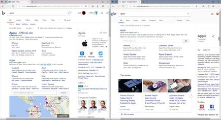 "A search for ""Apple"" is pretty neck-and-neck, thanks in part to Bing's strength in encyclopedic general search"