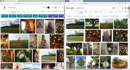 "You may disagree with me, but if I searched for ""baseball ornament"" I'd expect to see the pictures Bing found. I think Google's results more closely match the original ""baseball in tree"" query"