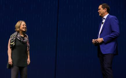 Diane Greene (Google Cloud) and Chuck Robbins (Cisco) addressing partners on the opening day of Cisco Partner Summit 2017