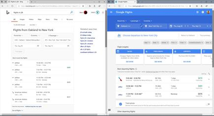 "After asking Bing to find flights, or clicking through to Google's flights page, you receive this result. Both search engines largely settle on the same ""best flights,"" though Google offers far more customisation options"