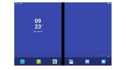 A prototype Surface Neo home screen, using the Microsoft Emulator